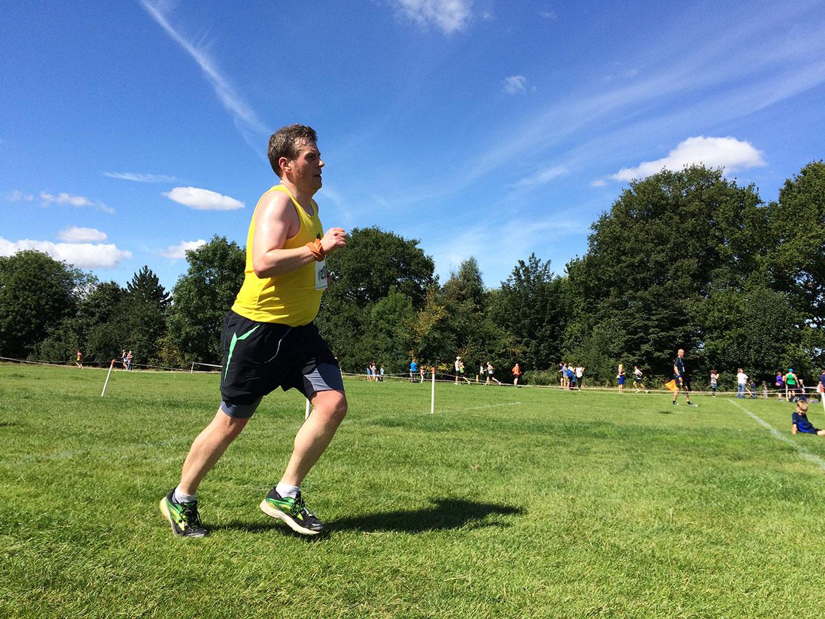 Pete Davies finishing Newark Half Marathon